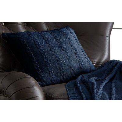 Gilland Cable Knit Cotton Deco Pillow Color: Denim Blue
