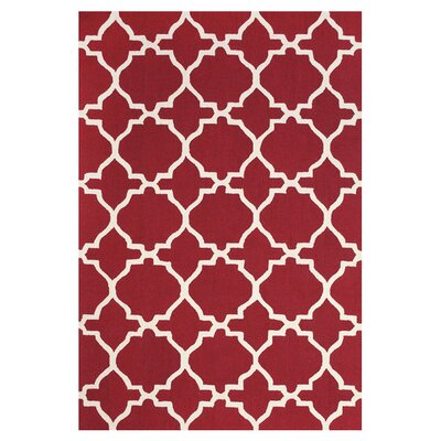 Chandlerville Red & White Area Rug Rug Size: 36 x 56