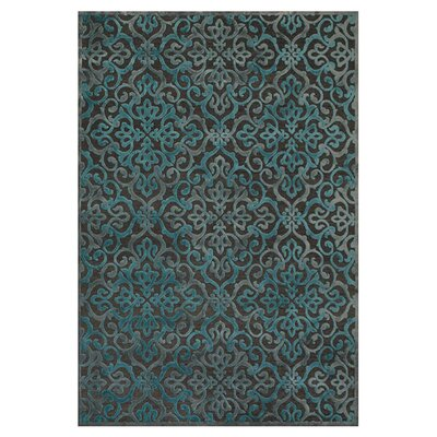Channahon Dark Gray/Marine Area Rug Rug Size: 53 x 76