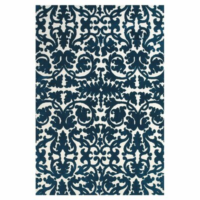 Clouser Blue/Ivory Area Rug Rug Size: Rectangle 5 x 8