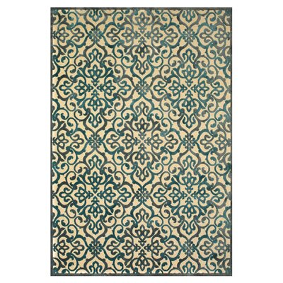 Coatsburg Cream/Green Area Rug Rug Size: 76 x 106
