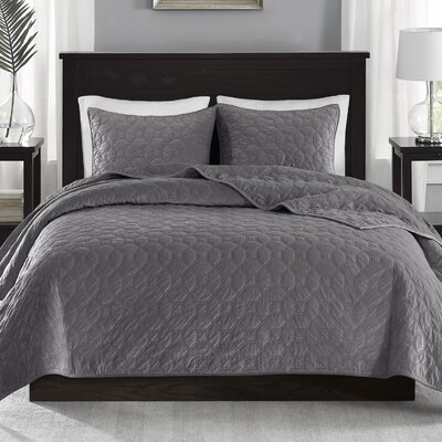 Bruggeman 3 Pieces Coverlet Set Size: Full/Queen, Color: Gray