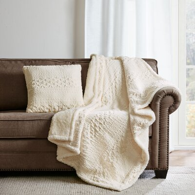 Edmond Textured Plush Throw Pillow Color: Ivory