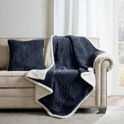 Edmond Textured Plush Throw Pillow Color: Navy