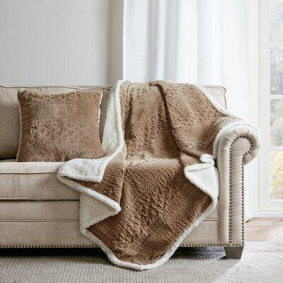 Edmond Textured Plush Throw Pillow Color: Taupe