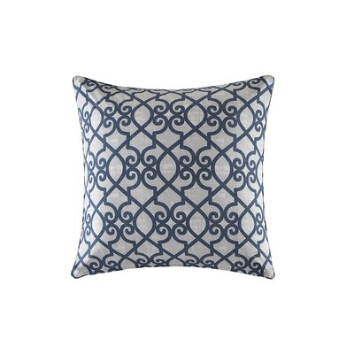 Barrows Printed Fretwork Outdoor Throw Pillow Size: 26 H x 26 W x 5 D, Color: Navy