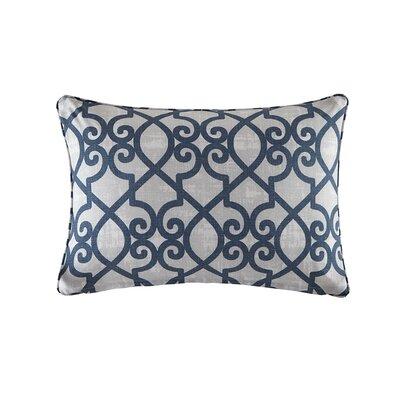 Barrows Printed Fretwork Outdoor Pillow Color: Navy