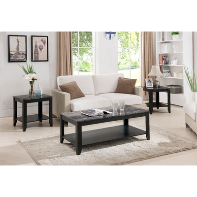 Norris 3 Piece Coffee Table Set Finish: Black