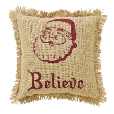 Elvin Burlap Santa Believe Fringed 100% Cotton Throw Pillow