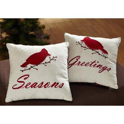 Seasons Greetings 2 Piece Cotton Throw Pillow Set