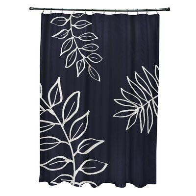 Bookman Shower Curtain Color: Navy Blue/Ivory