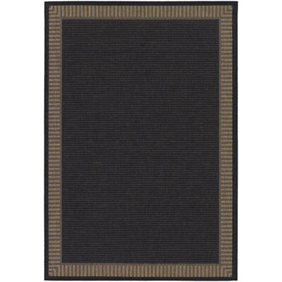 Westlund Black Wicker Stitch Indoor/Outdoor Rug Rug Size: 53 x 76