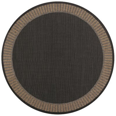 Westlund Black Wicker Stitch Indoor/Outdoor Rug Rug Size: Round 86