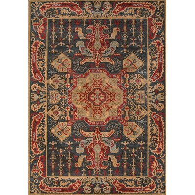 Miller Navy/Red Area Rug Rug Size: 53 x 76