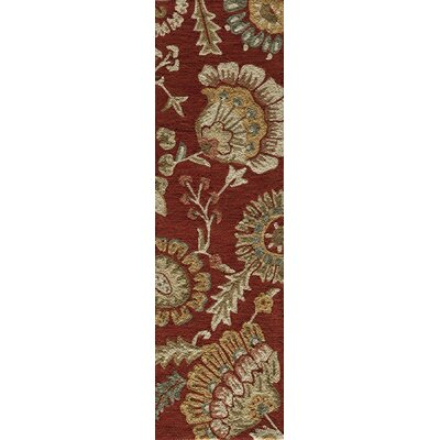 Ophelia Hand-Hooked Red Area Rug Rug Size: Runner 23 x 76