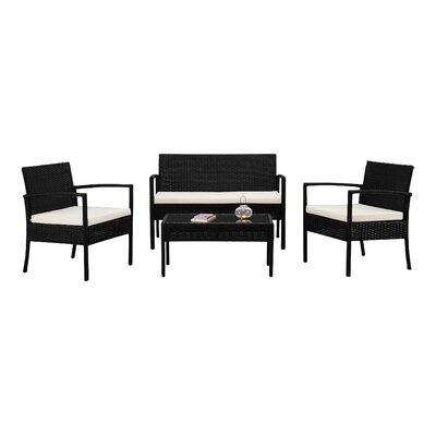 Fayette 4 Piece Wicker Seating Group with Cushion Color: Off White/Ivory