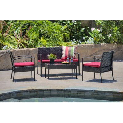Fayette 4 Piece Wicker Seating Group with Cushion Color: Bright Red