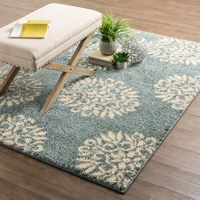 Cowden Exploded Medallions Woven Slate Blue/Cream Area Rug