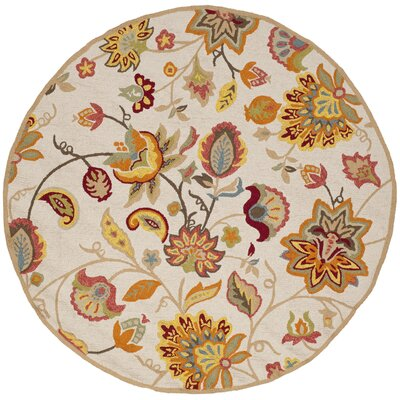 Carvalho Hand-Hooked Beige/Orange/Green Indoor/Outdoor Area Rug Rug Size: Round 4