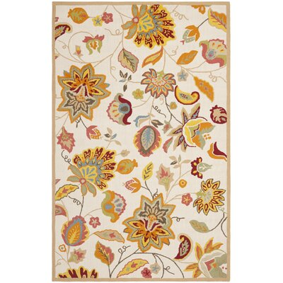 Carvalho Ivory/Yellow Indoor/Outdoor Area Rug Rug Size: 5 x 7