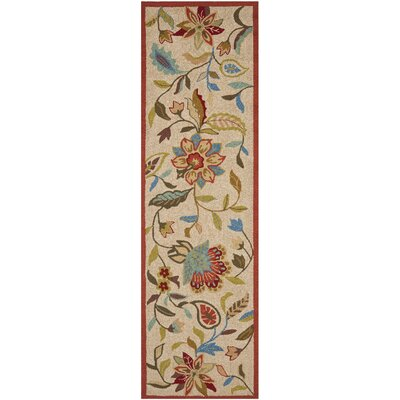 Carvalho Ivory/Rust Outdoor Area Rug Rug Size: Runner 23 x 8