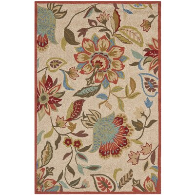 Carvalho Ivory/Rust Outdoor Area Rug Rug Size: 5 x 8
