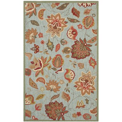 Carvalho Hand-Hooked Beige/Orange/Green Indoor/Outdoor Area Rug Rug Size: Rectangle 5 x 7