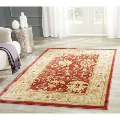 Christensen Red/Cream Area Rug Rug Size: 67 x 91