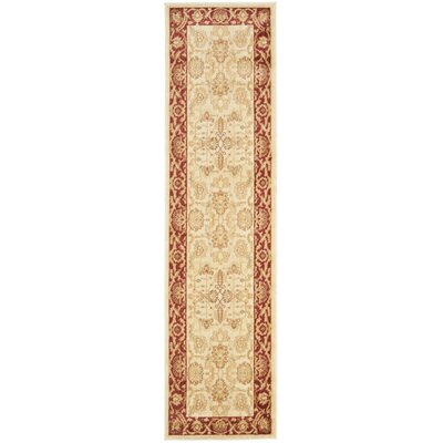 Christensen Cr�me/Red Rug Rug Size: Runner 23 x 8