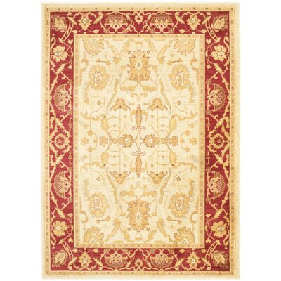 Christensen Cr�me/Red Rug Rug Size: Rectangle 67 x 91