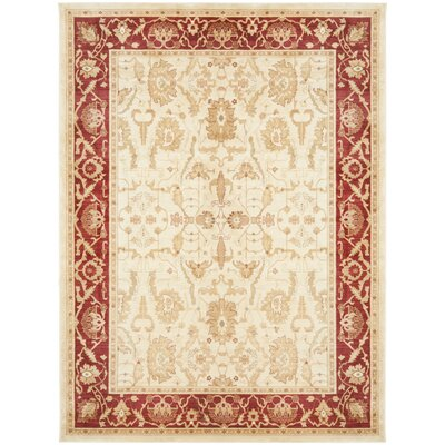 Christensen Cr�me/Red Rug Rug Size: 96 x 13