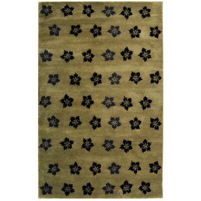 Alvan Sage/Black Area Rug Rug Size: Rectangle 36 x 56