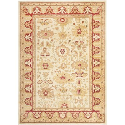 Christensen Creme & Red Floral Area Rug