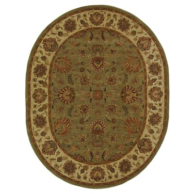 Cranmore Hand-Tufted Wool Green/Gold Area Rug Rug Size: Oval 46 x 66