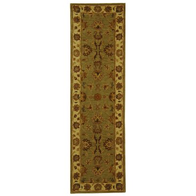 Cranmore Hand-Tufted Wool Green/Gold Area Rug Rug Size: Runner 23 x 10