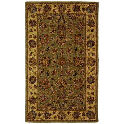 Cranmore Hand-Tufted Wool Green/Gold Area Rug Rug Size: Rectangle 2 x 3