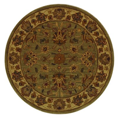 Cranmore Hand-Tufted Wool Green/Gold Area Rug Rug Size: Round 8