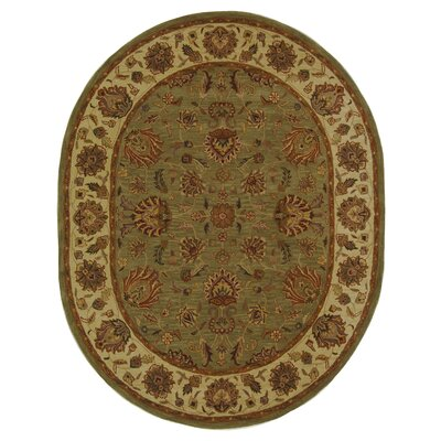 Cranmore Green/Gold Area Rug Rug Size: Oval 46 x 66