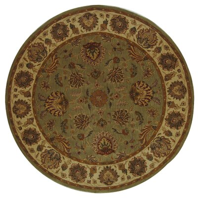 Cranmore Green/Gold Area Rug Rug Size: Round 36