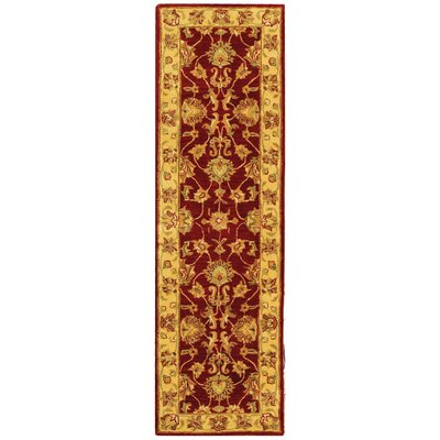 Cranmore Hand-Tufted Wool Red/Gold  Area Rug Rug Size: Runner 23 x 14