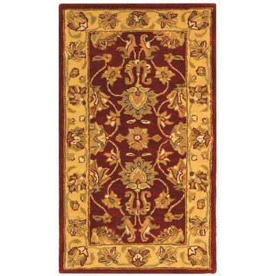 Cranmore Hand-Tufted Wool Red/Gold  Area Rug Rug Size: Rectangle 23 x 4