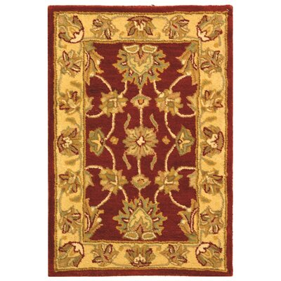 Cranmore Hand-Tufted Wool Red/Gold  Area Rug Rug Size: Rectangle 2 x 3