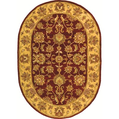 Cranmore Hand-Tufted Wool Red/Gold  Area Rug Rug Size: Oval 46 x 66