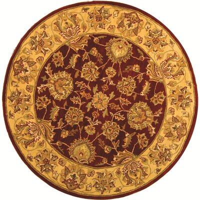 Cranmore Red/Gold Floral Area Rug Rug Size: Round 6