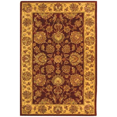 Cranmore Red/Gold Floral Area Rug Rug Size: 5 x 8