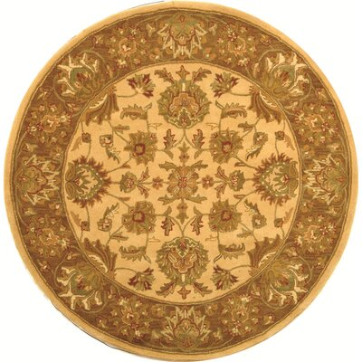 Cranmore Ivory/Brown Area Rug Rug Size: Round 8