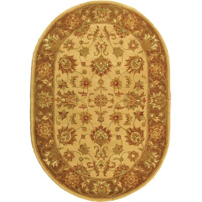 Cranmore Ivory/Brown Area Rug Rug Size: Oval 76 x 96