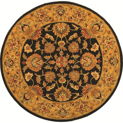 Cranmore Charcoal/Gold Area Rug Rug Size: Round 8