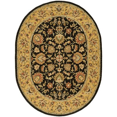 Cranmore Charcoal/Gold Area Rug Rug Size: Oval 76 x 96