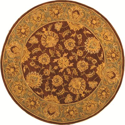 Cranmore Gold & Brown Area Rug Rug Size: Round 6